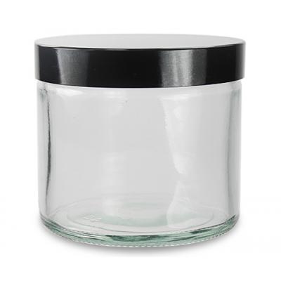 Słoik szklany bezbarwny 120ml z czarną nakrętką