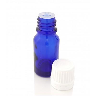 Butelka szklana niebieska z KROPLOMIERZEM białym 10ml
