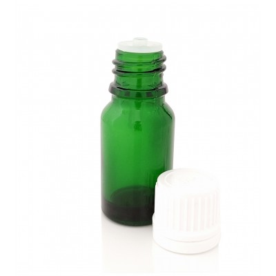 Butelka szklana zielona z KROPLOMIERZEM białym 10ml