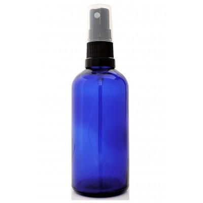 Butelka szklana niebieska z ATOMIZEREM czarnym 100ml