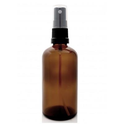 Butelka szklana brązowa z ATOMIZEREM czarnym 100ml