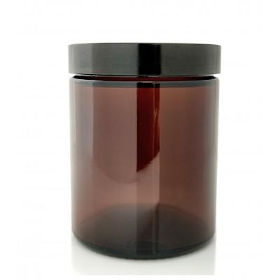Słoik szklany brązowy 180ml z czarną nakrętka