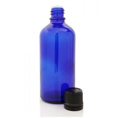 Butelka szklana niebieska z KROPLOMIERZEM czarnym 100ml