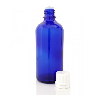 Butelka szklana niebieska z KROPLOMIERZEM białym 100ml