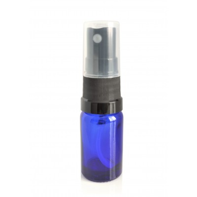 Butelka szklana niebieska z ATOMIZEREM czarnym 10ml